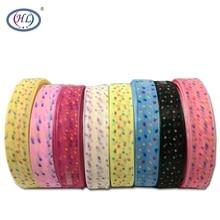 HL 1(25mm) 10 Meters/lot Printed Dots Organza Ribbons Wedding Party Decorative DIY Gift Box Wrapping Belt Making Hair Bows