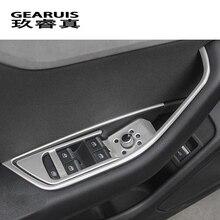 Автомобиль для укладки дверь подлокотник панель охватывает отделка окна стеклянный лифт кнопки рамка наклейки для Audi A4 B9 интерьер Авто аксессуары LHD