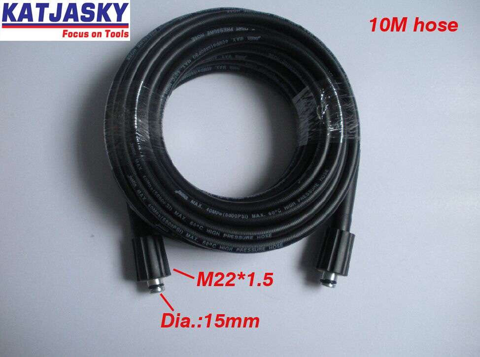 Car washer hose 10M 400Bar 5800PSI,two ends are M22*1.5*15mm , high pressure washer hose spray water 7 5m car washer hose with gun 40mpa 5800psi high pressure washer hose