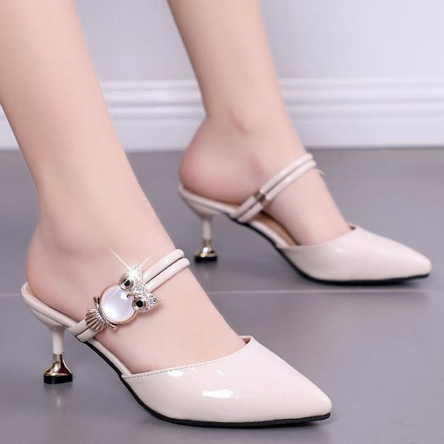 bbaad787291 Women Pumps Women Shoes Woman Kitten Heels Stiletto High Heels Two Ways  Pointed Toe Sandals Owl Fashion Heel Mules Size 39 Nude