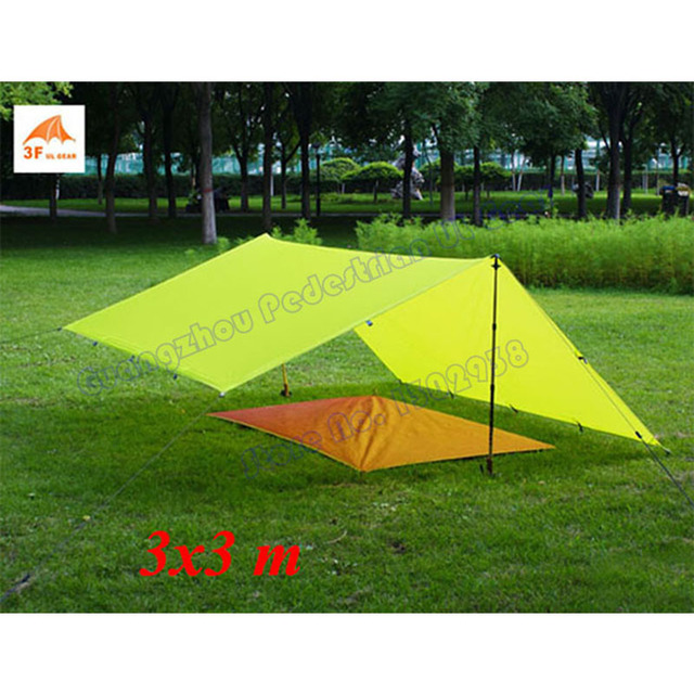 3F UL Gear 3*3m 15D Nylon with silicon coating outdoor tarp shelter high quality beach awning