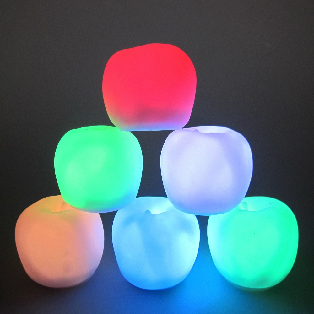 2016 novelty new light-up apple light toy colorful gift flash Christmas party light-up toys 2pcs free shipping