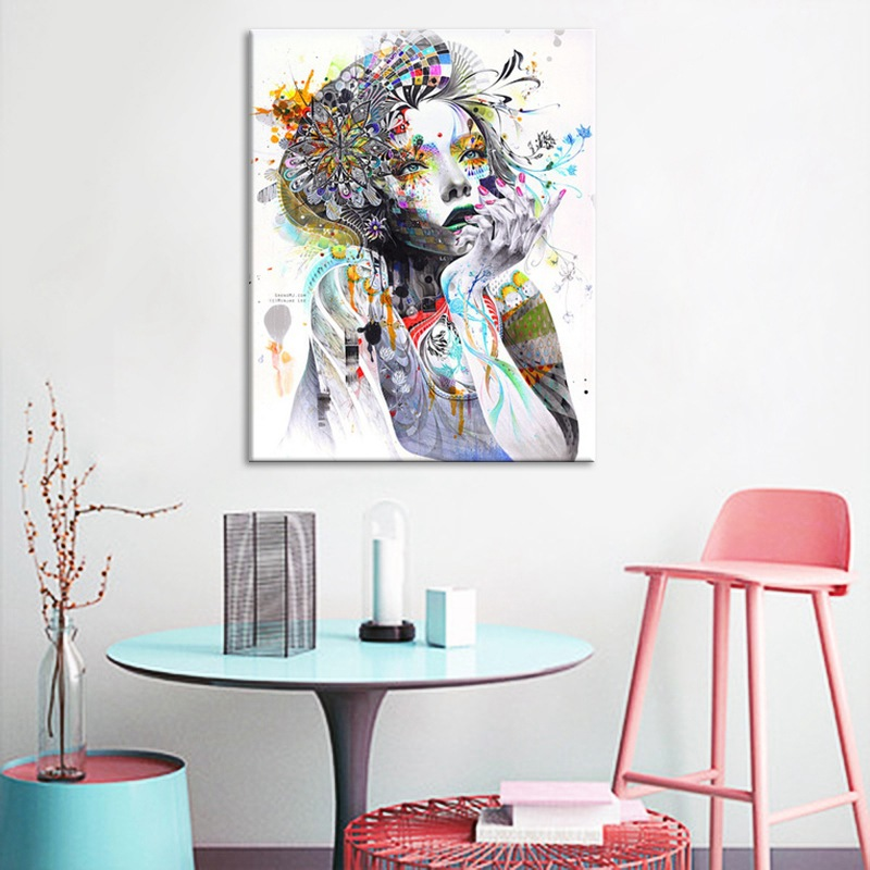 Dream home watercolor creative abstract figure portrait flower beauty decoration canvas painting frameless picture core