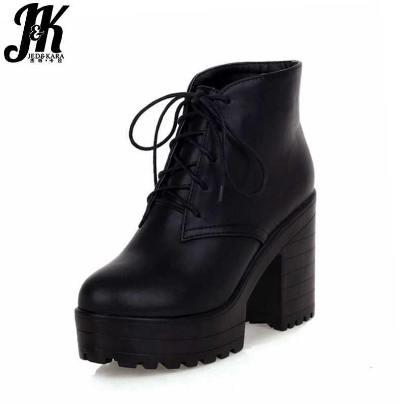Artı boyutu 43 Kış çizmeler kadın ayakkabıları Sıcak Kürk Katlanabilir yarım çizmeler Martin Çizmeler Lace up Yüksek Blok Topuklu Platformu Çizmeler Kadın