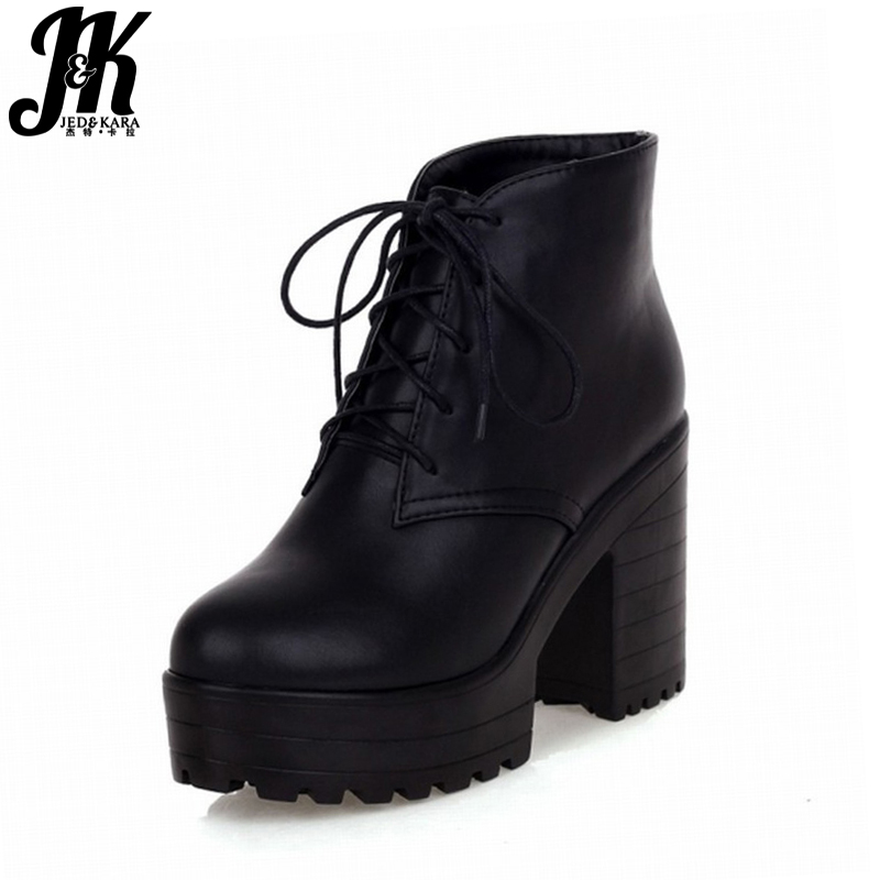 Plus size 43 Winterlaarzen Dames Schoenen Warm Bont Add-on Enkellaarzen Martin Laarzen Lace up Hoge Blok Hakken Platform Laarzen Dames