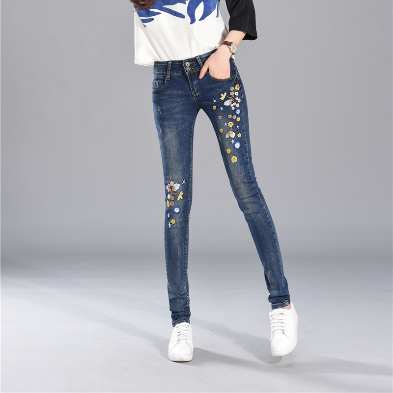 Embroidery Jeans For Women Spring High Waist Elasticity Jeans Ethnic Style Embroidery Sexy Foot Pants Female Student Jeans Woman