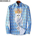 2017 Men's Shirts Mens Tuxedo Shirt Mens Quality Luxurious Owl Printed Casual Shirt Male Long-Sleeve Brand Dress Shirts AZ129