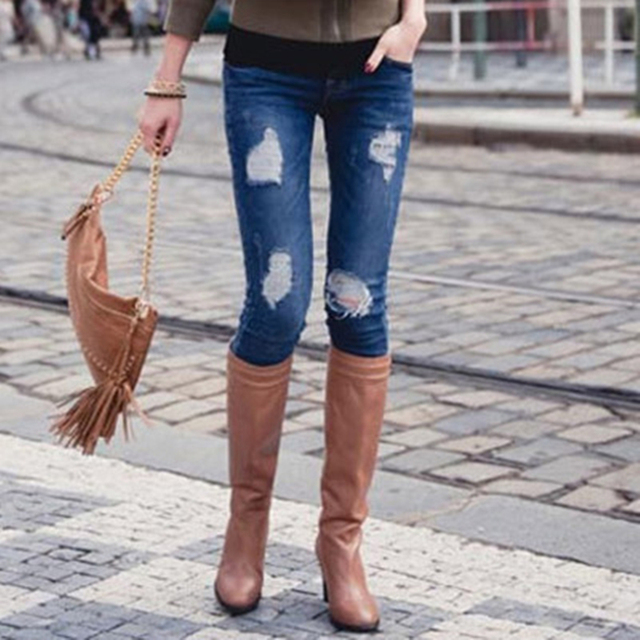 New 2017 Women Fashion Hole Jeans Pencil Pants Denim Slim Zipper Low Trousers Ladies Pocket for woman