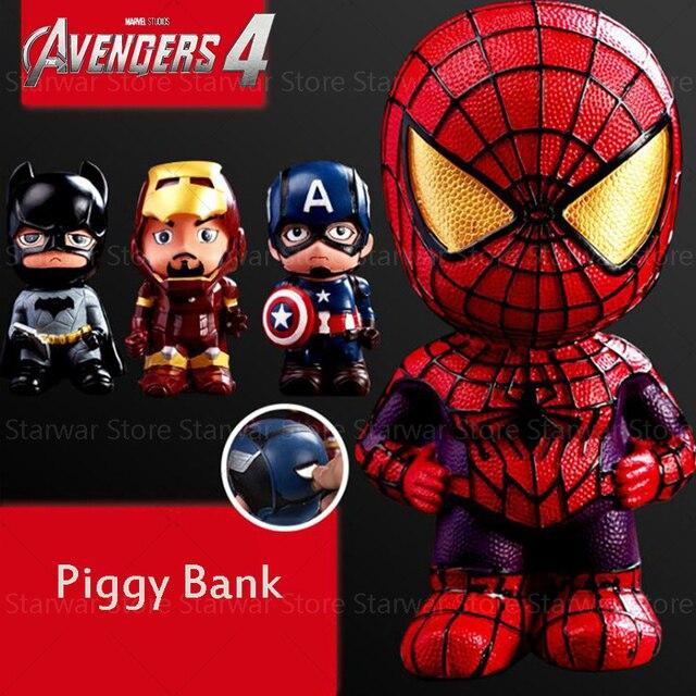 Figura de ação brinquedo Endgame 4 Vingadores Super Heroes Figuras Brinquedos Capitão América Spiderman homem de ferro mealheiro presente para o menino
