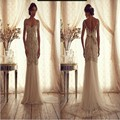 Vintage Anna Campbell 2016 Exquisite Crystal Beaded Mermaid Wedding Dress Sweetheart Shoulder Strap Backless Bow Bridal Gowns