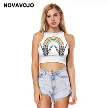 a16a843e4f NOVAVOJO Brand Rainbow Hand Printing Super Short Tank Top Women Crop Top  Sexy Top Fitness tshirt