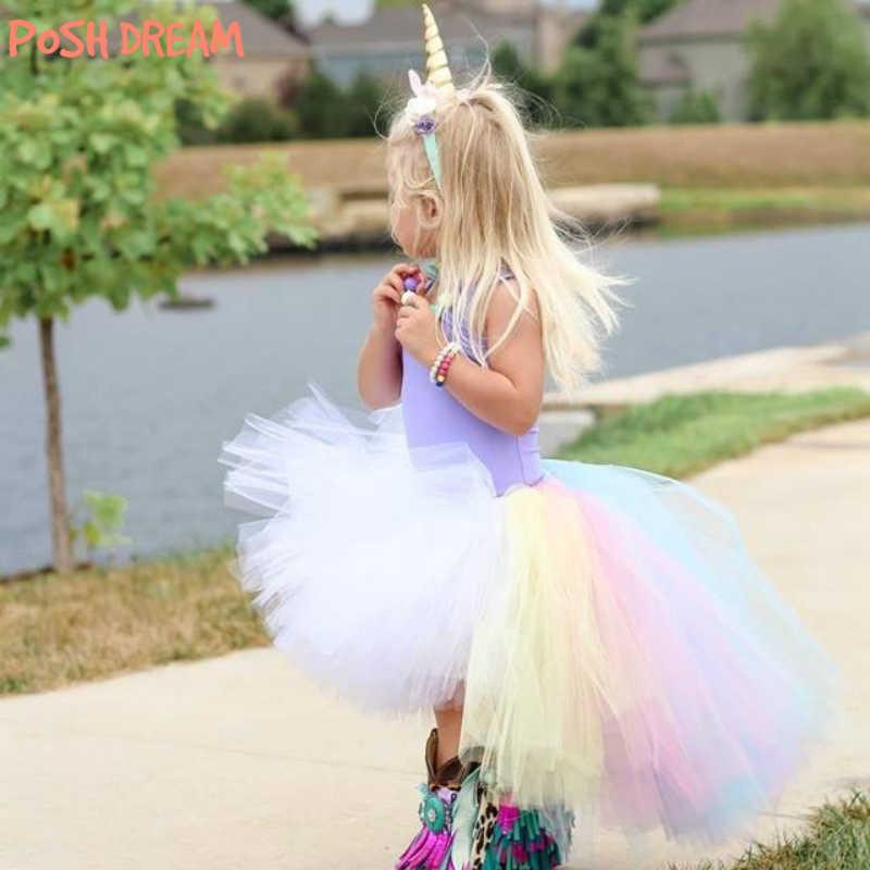 6a12f85cd POSH DREAM Pastel Unicorn Girls Tutu Skirt Colorful Easter Hi Low Tutu Skirt  for Photo Prop