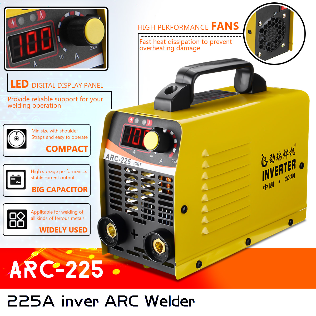 AUTOOL Dual Voltage Arc Inverter Welder 110V 220V IGBT 20-160A Handheld Intelligent Welding Machine Assembly Support 1//8 Inch Welding Rod with Goggles Overheat Protection Current Display