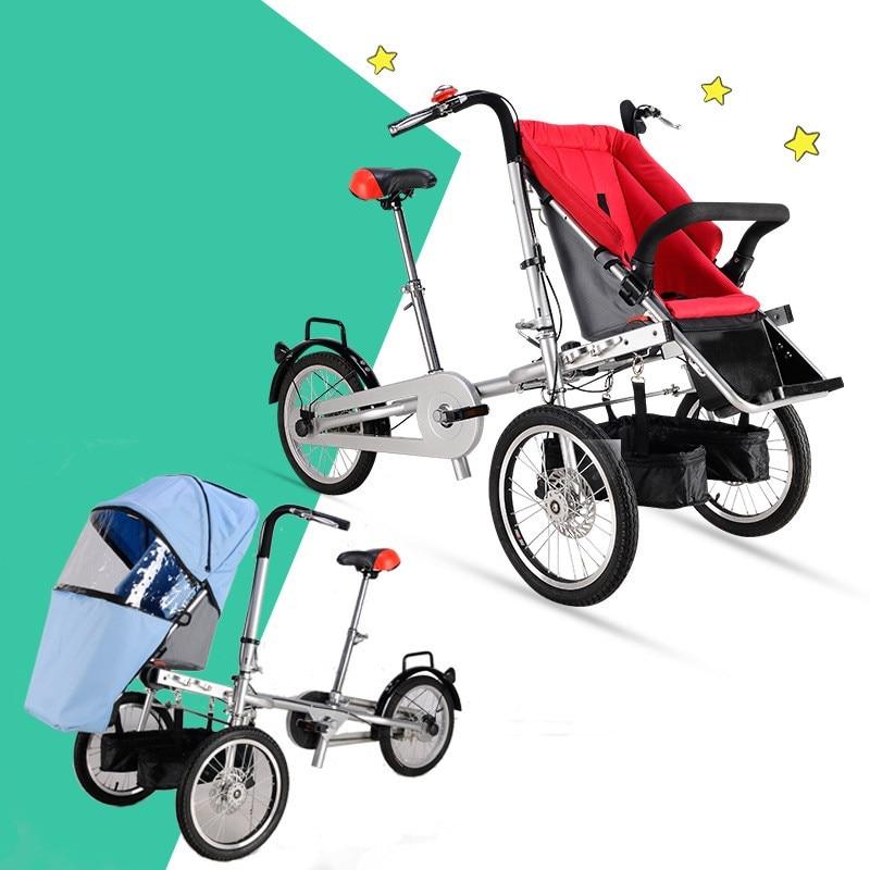 DDU prix marque Taga vélo similaire mère et bébé voiture vélo poussette Parent-enfant jumeaux vélo poussettes pliable bébé chariot