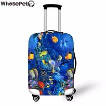 ФОТО WHOSEPET Blue Ocean Style Cover for Suitcase Bags Travel Luggage Accessories for Mens Womens Anti-dust Suitcase Case Cover