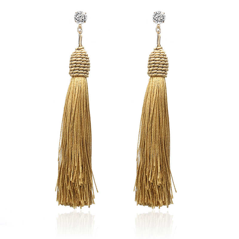 E0121 Bohemian Crystal Tassel Earrings Black White Blue Red Yellow Silk Fabric Retro Long Drop Dangle Earrings For Women Jewelry