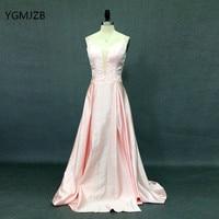 Elegant Pink Prom Dresses Long 2018 A Line V Neck Floor Length Satin Evening Dress Women Formal Prom Party Gown Robe de Soiree