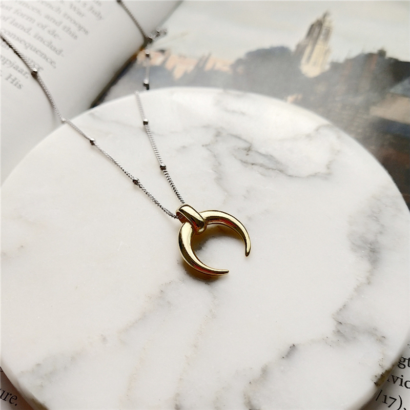 BOAKO Collares 925 Sterling Silver Moon Pendant Necklace Gold Fashion Wild Crescent Choker Necklaces For Women Jewelry Gift B9BOAKO Collares 925 Sterling Silver Moon Pendant Necklace Gold Fashion Wild Crescent Choker Necklaces For Women Jewelry Gift B9