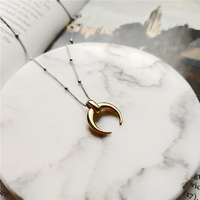BOAKO Collares 925 Sterling Silver Moon Pendant Necklace Gold Fashion Wild Crescent Choker Necklaces For Women Jewelry Gift B9