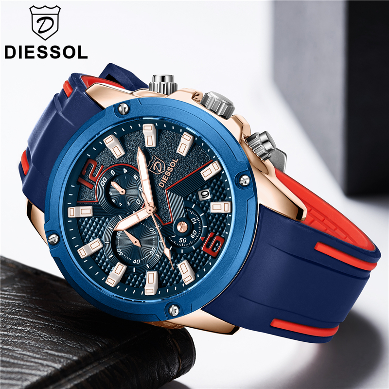 DIESSOL Mens Watches Top Brand Luxury Chronograph Quartz Watch Men Casual Rubber Band Waterproof Sport Watch