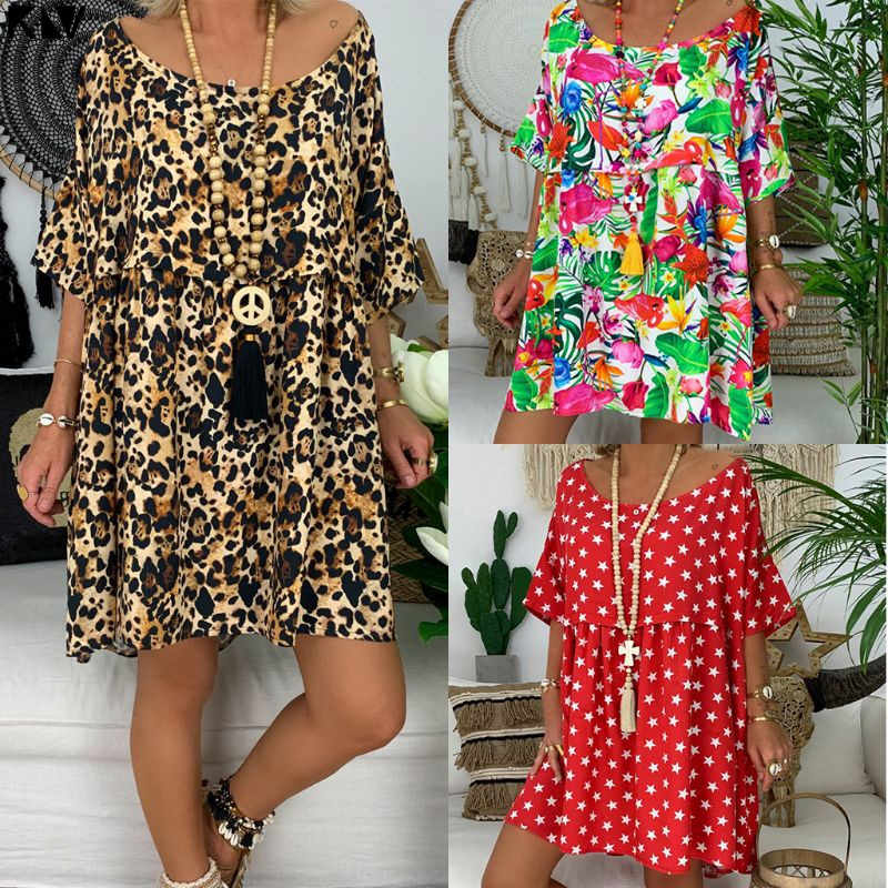 KLV Women Plus Size Retro Boho Half Sleeve O-Neck leopard Dress Summer Beach Casual Mini Dress
