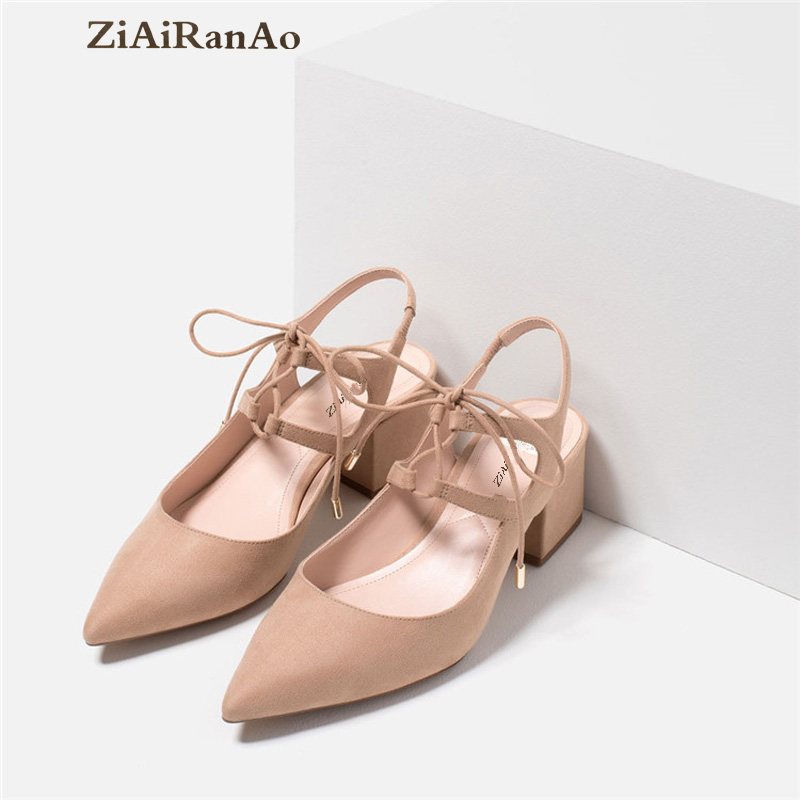 Summer Fashion Pointed Toe Shoes Woman Cross Strap Women Sandals Casual Square Heel 5 CM Low Heel Women Shoes Solid Women Pumps xiaying smile summer woman sandals square cover heel woman pumps buckle strap fashion casual flower flock student women shoes