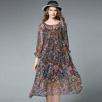 4xl Women Summer Chiffon Dress Plus Size European Woman Flower Print Loose Beach Party Casual Dresses
