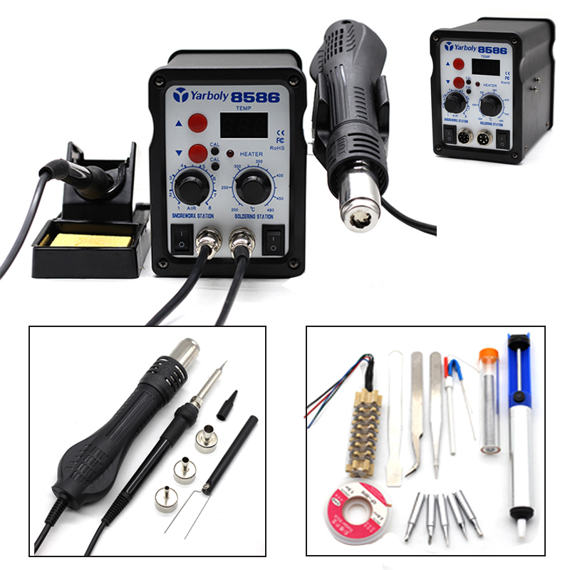 8586 2 In 1 Hot Air SMD Rework Station Solder Blower Heat Gun 700W 220V LED Digital + Soldering Iron Welding Tool ESD 3 Nozzles 8586 2 in 1 esd soldering station smd rework soldering station hot air gun set kit welding repair tools solder iron 220v 110v