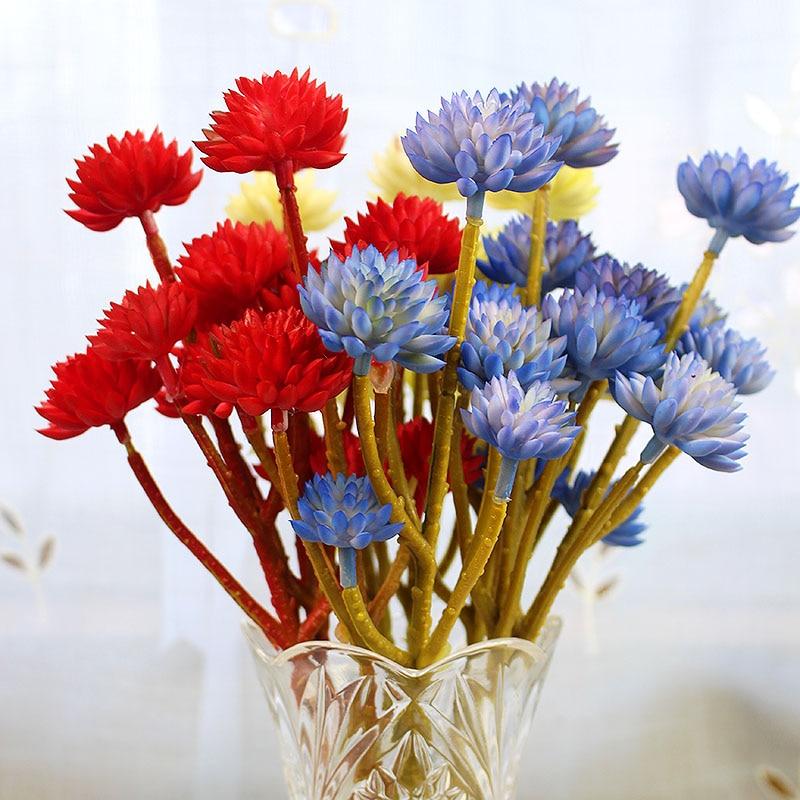 (3 db / tétel) Egyfejű 6 lótusz húsos szimulációs virág - Ünnepi és party kellékek