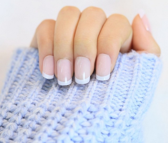 Full Cover Fake Nails 24pcs/set Smooth Natural Nude Color Acrylic ...