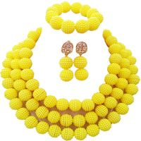 Traditional Indian Opaque Yellow Imitation Pearl Women Wedding Jewellery Sets 3C ZZ 18