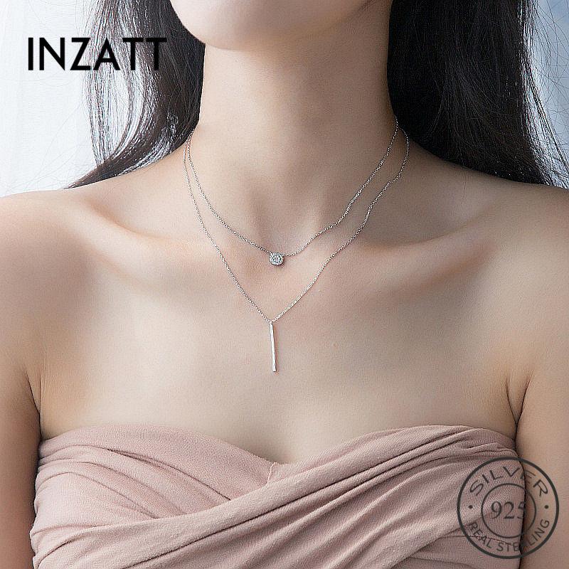 INZATT Real 925 Sterling Silver Elegant Double Layer Geometric Pendant Necklace Fine Jewelry For Women Wedding Innrech Market.com