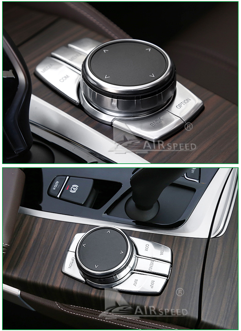 Airspeed for BMW 5 Series G30 528i 530i 540i Accessories Car Multimedia Buttons Cover ABS Interior Decoration Car Styling (15)