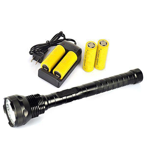 18000 Lumen 15x XM-L T6 LED Flashlight Torch Light Lamp + 4*26650 battery + Charger high power flashlights 7xcree xm l2 15000 lumen led hunting flashlight lamp tactical torch 3x 26650 battery eu charger
