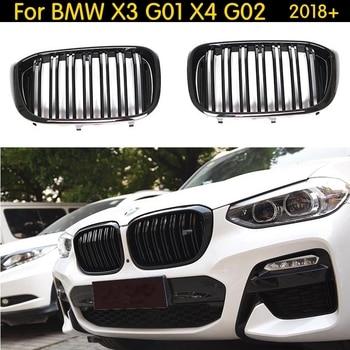 Dual Latten Front Nier Grill Voor BMW X3 G01 X4 G02 Bumper Racing Grille X3 X4 xDrive20i xDrive30i ABS Gloss zwart 2018 +