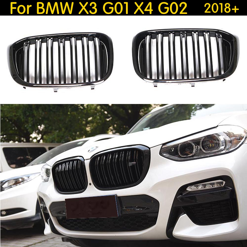 Dual Slats Front Kidney Grill For BMW X3 G01 X4 G02 Bumper Racing Grille X3 X4 xDrive20i xDrive30i ABS Gloss Black 2018+