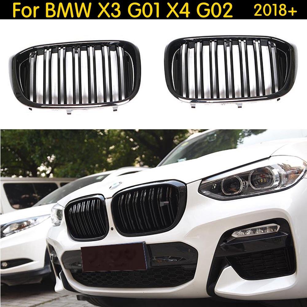 Grille de rein avant à double lamelles pour BMW X3 G01 X4 G02 Grille de course de pare-chocs X3 X4 xawai20i xDrive30i ABS noir brillant 2018 +