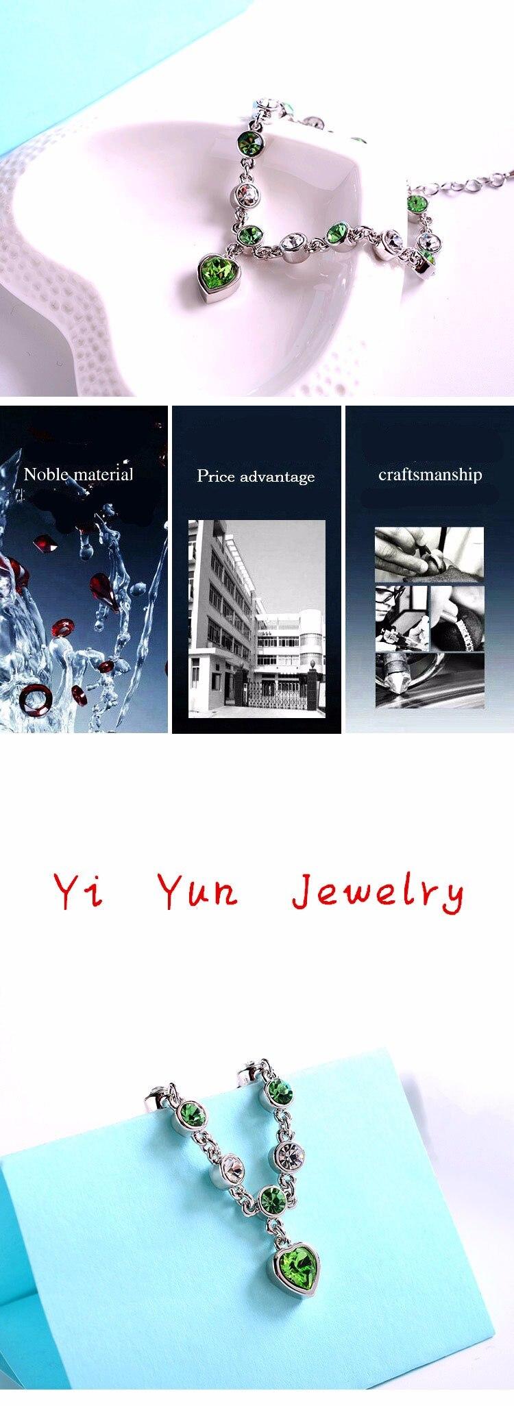 LYIYUNQ Fashion Bracelet Hot Wedding Female Heart Crystal Bracelets For Women Luxury Temperament Silver-Color Fine Jewelry Gift 7