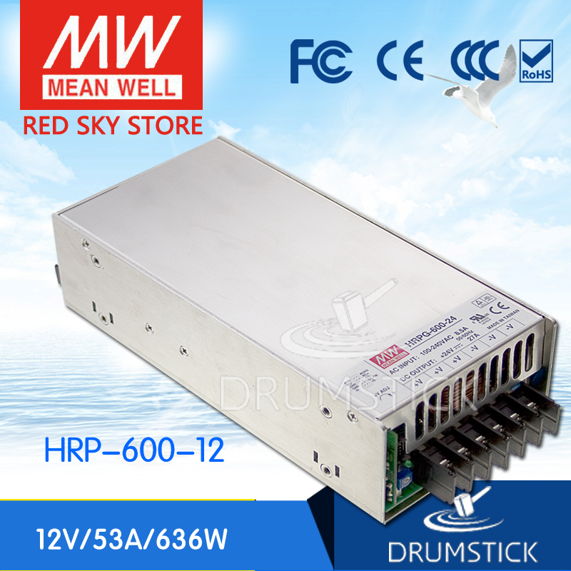 Selling Hot MEAN WELL HRP-600-12 12V 53A meanwell HRP-600 12V 636W Single Output with PFC Function  Power Supply selling hot mean well epp 300 48 48v 6 25a meanwell epp 300 48v 300w single output with pfc function
