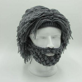 7ed06b987388 1 Pza Popular Peluca de barba Rasta Invierno Caliente gorro de punto con  bigote para adultos gorras de punto para hombres mujeres Halloween gorra de  ...