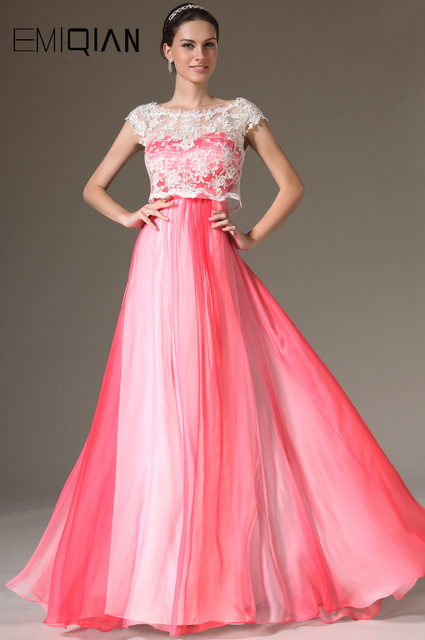 Free Shipping New Cap Sleeves Chiffon Evening Gowns Formal Women Dresses  with White Lace Jacket 080762d5688f