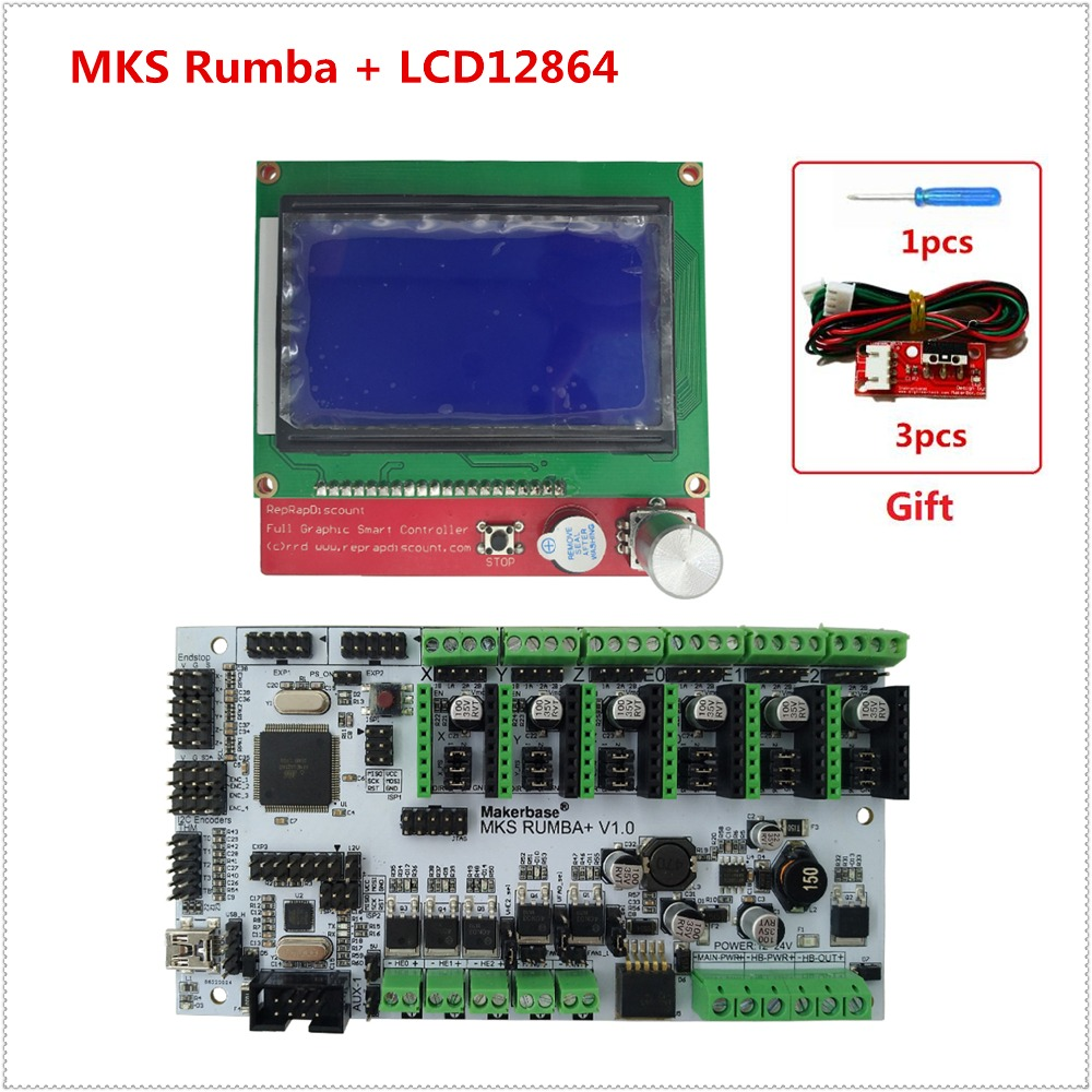 MKS Rumba Plus control plate Rumba-board + LCD12864 display integrated motherboard mega 2560 R3 compatible MKS TFT display rumba plus motherboard 2560 r3 processor upgrade rumba control board with 6pcs tmc2100 drivers suitable for mks tft display