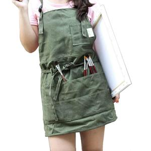Image 1 - MyLifeUNIT Canvas Artist Apron Multi pocket Slim fit style Apron Adjustable Neck Strap Waist Ties Suitable For Artist Painting