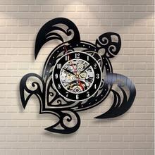 Vinyl Record Design Wall Clock Classic Wall Clocks Quartz Mechanism Black Turtle Vinyl Record
