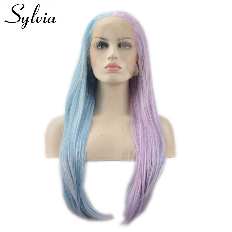 Sylvia piano color pink to blue natural straight hair heat resistant fiber synthetic lace front wig