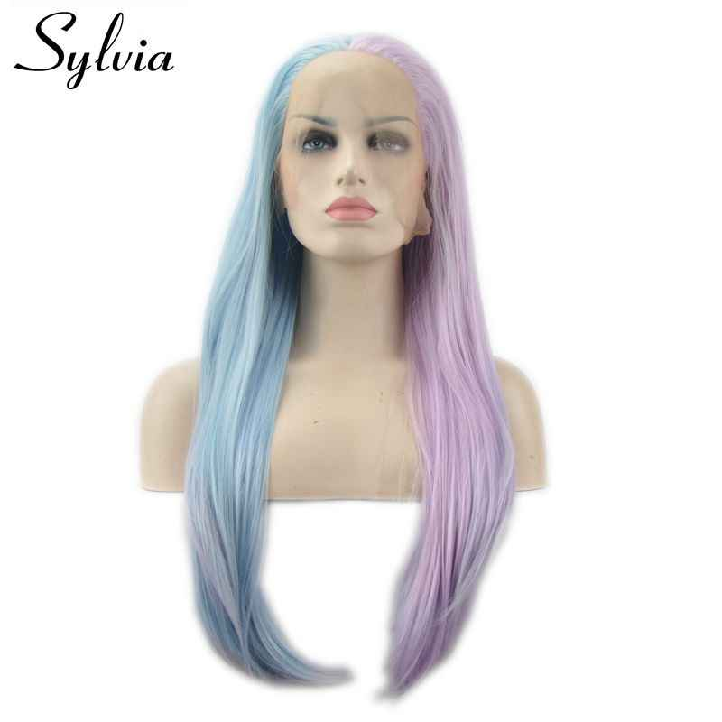 Sylvia piano color pink to blue natural straight hair heat resistant fiber synthetic lace front wig for white women cosplay wigs