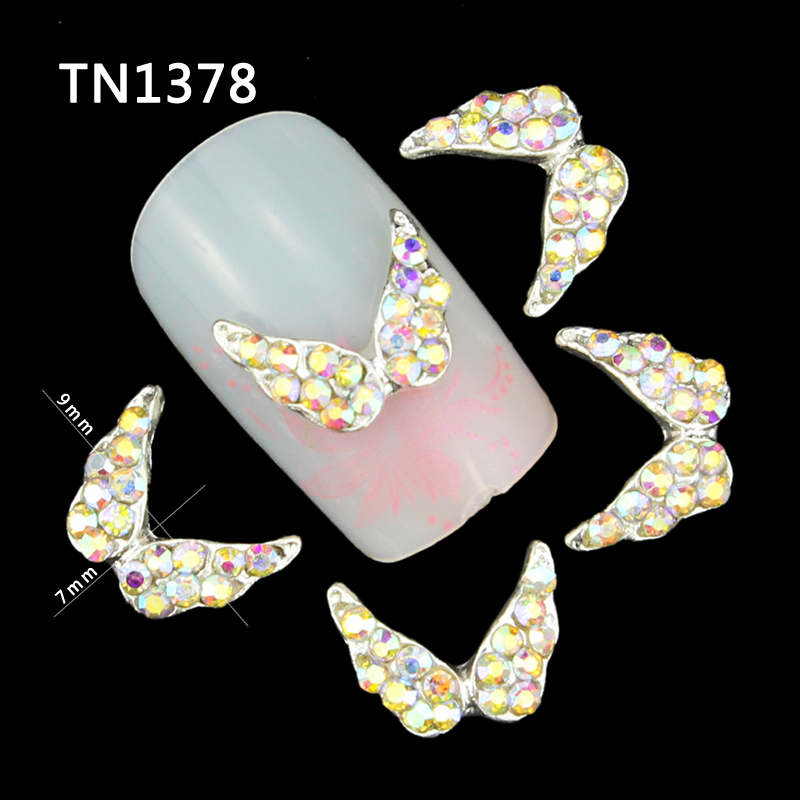 10 Pcs/Lot Silver Alloy Full AB Color Rhinestons 3D Angel Wings Nail Art Tools Glitter Manicure Decorations For Nails TN1378 50 pcs set 3d nail art decorations glitters diy nail tools full rhinestones silver crown crystal nails studs1