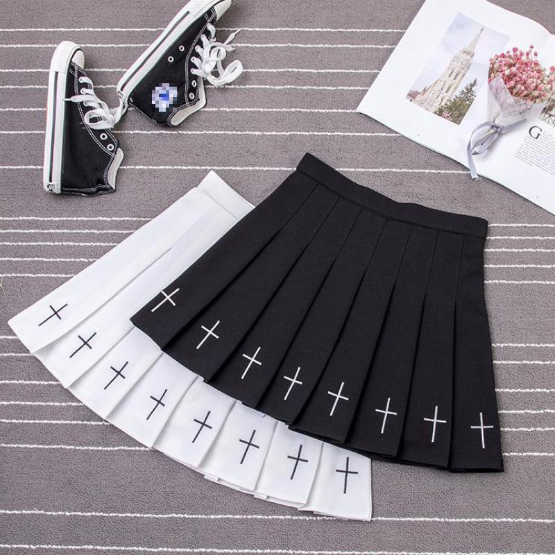 Girls Punk Cross Embroidery Mini Skirts Women Summer High Waist Gothic Short Pleated Skirts Female Black White Skirt