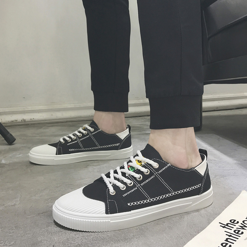 Solid cool canvas men shoes casual fashion simple adult casual flats Spring/Autumn high quality leisure hot sales man sneakers 2018 european cool men shoes breathable light casual adults casual shoes spring autumn solid high quality sneakers man