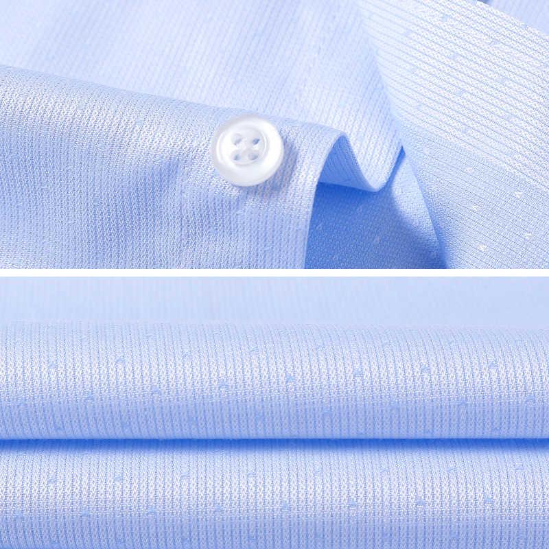 ブランド 2018 ブルー男性のシャツ長袖洗浄と摩耗ブルーカジュアルメンズクラシックフィット綿メンズドレスシャツカミーサ